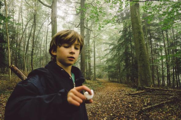 Theo with broken birds egg
