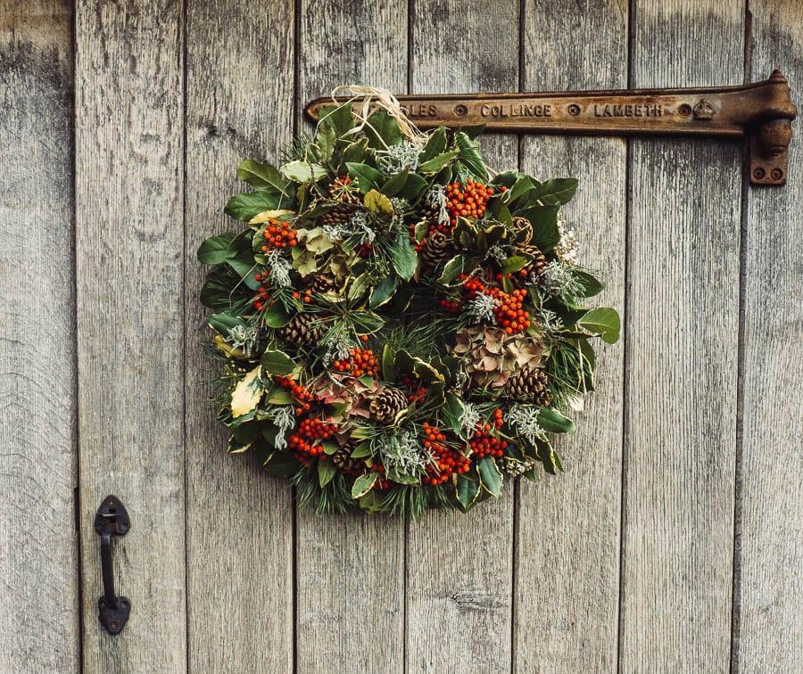 Christmas wreath gazebo workshop door