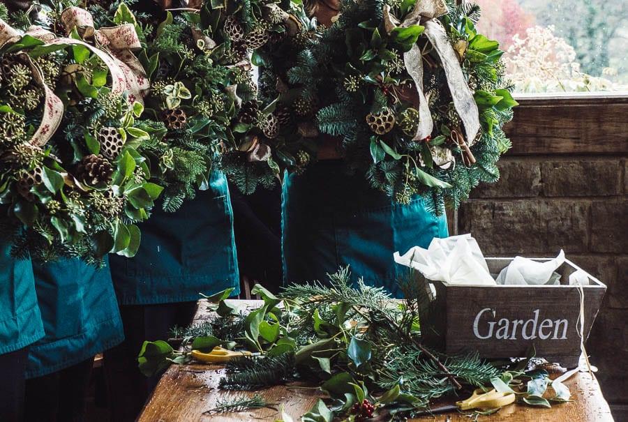 Christmas wreath holding up wreaths