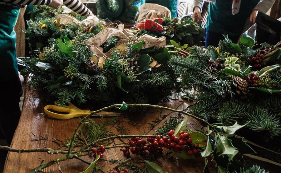 Christmas wreath workshop table