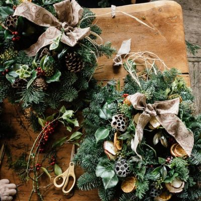 Christmas wreath workshop at Gravetye Manor