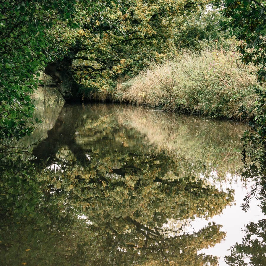 Groombridge Place canal boat reflections