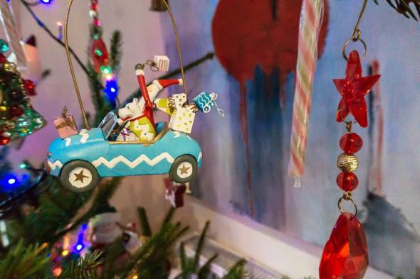 Christmas tree dog and Santa ornament