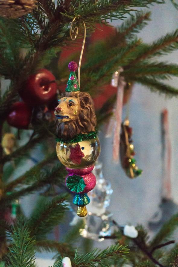 Lion clown Christmas tree ornament