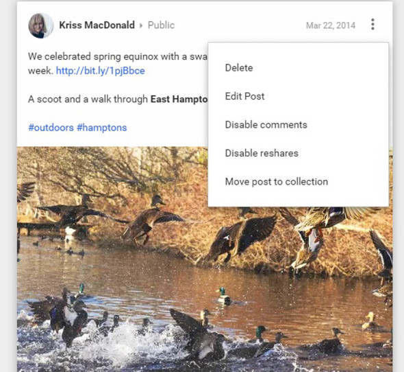 New Google Plus Move post to collection