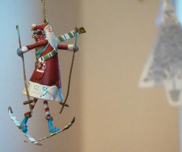 Santa on skis Christmas tree ornament