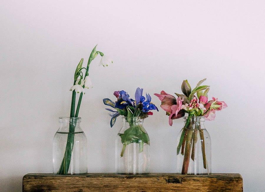 Flowers in three bottle vases