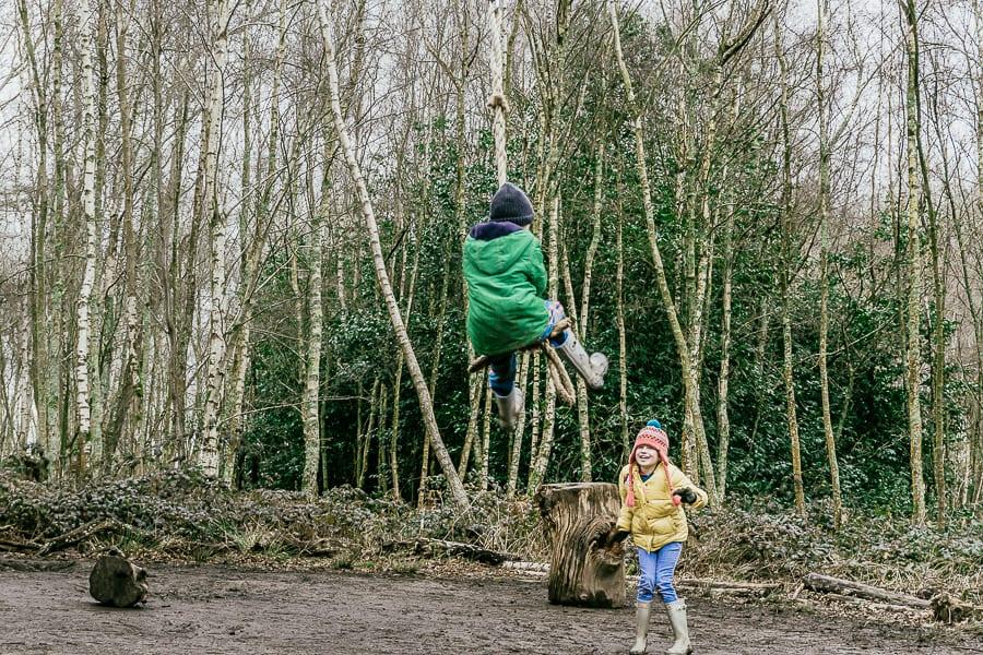 Natural playground Sheffield Park tree swing