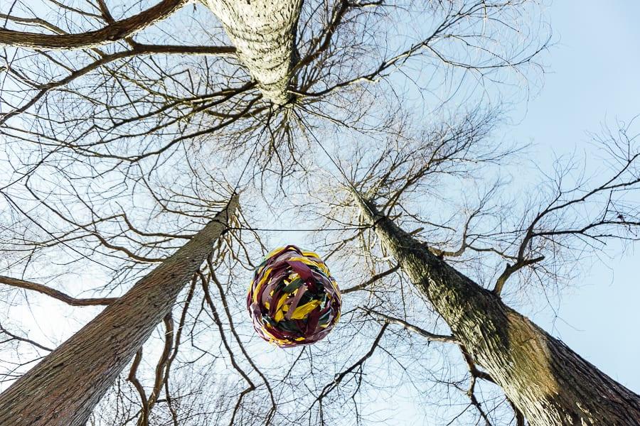 Easter Egg hunt egg hanging from tree
