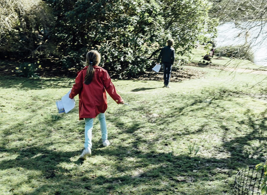 Easter Egg hunt following trail