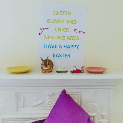 Easter bunny and chick nesting area
