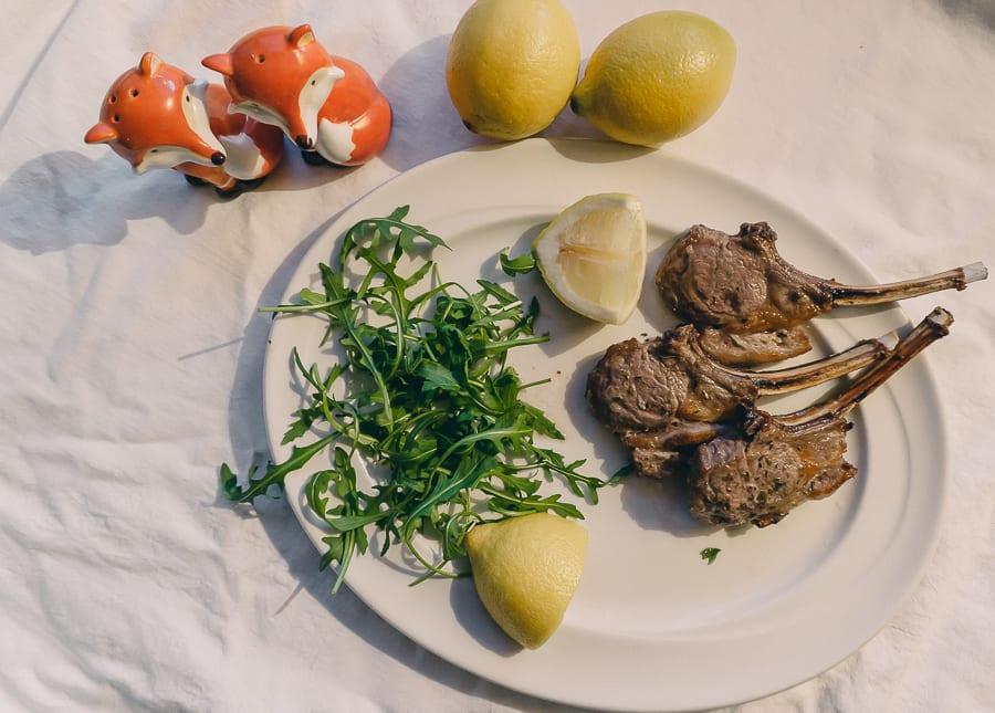 Grilled Lamb Cutlets with lemon and oregano marinade