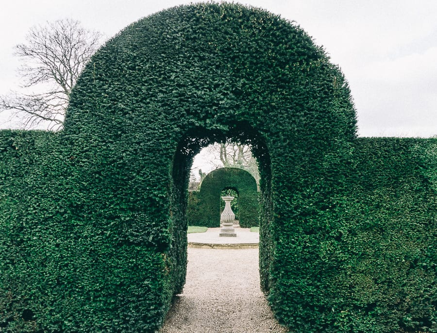 Wakehurst hedge arch and statue