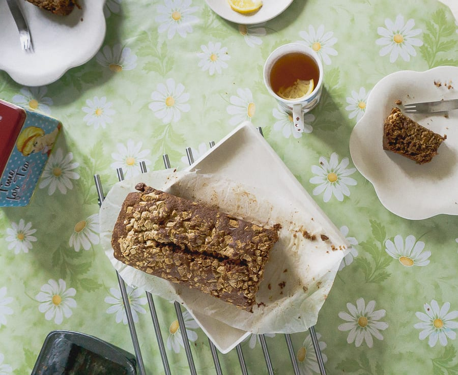 Banana bread with white chocolate topping
