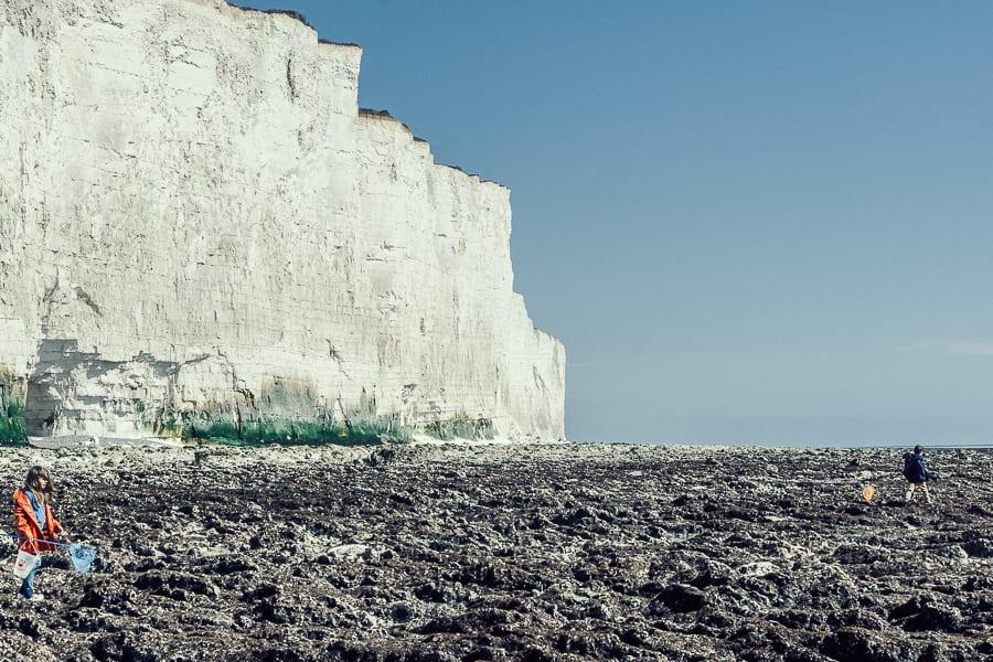 Rock pooling chalk cliffs