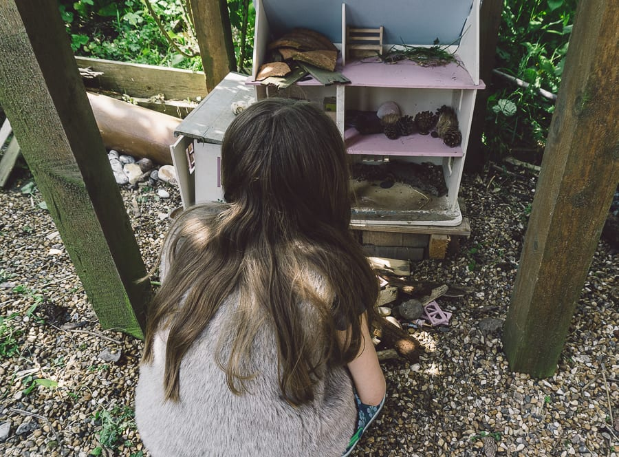 Dolls house turned into bug hotel