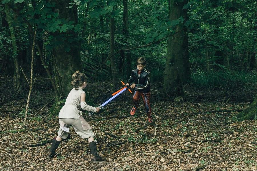 Lightsaber battle woods Kids Star Wars adventure