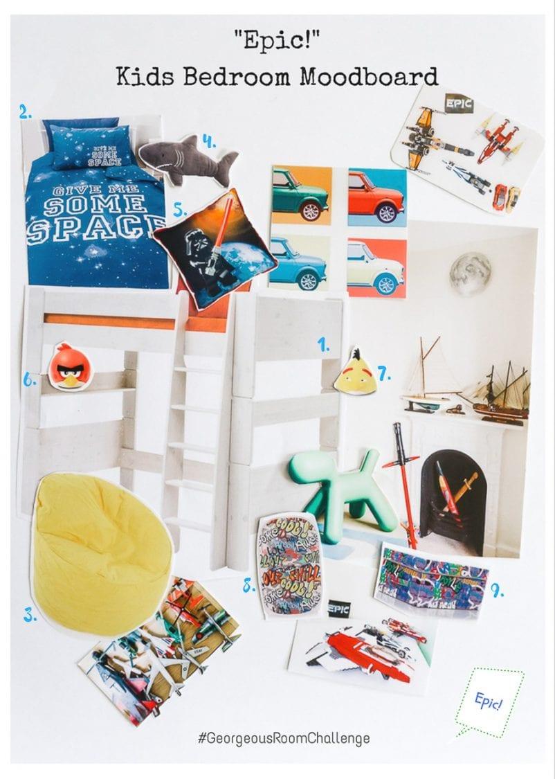 Georgeous Kids Bedroom Moodboard