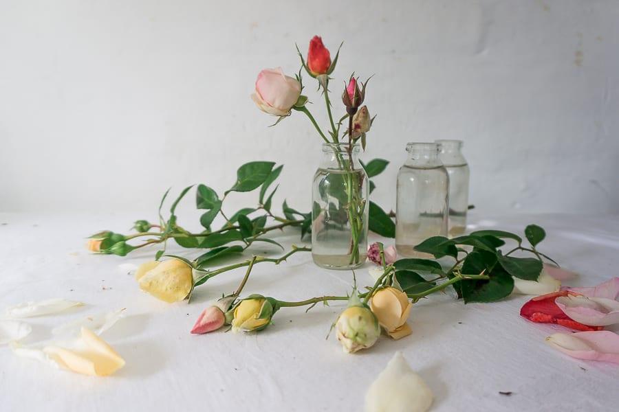 Cut rosebuds and mini bottles