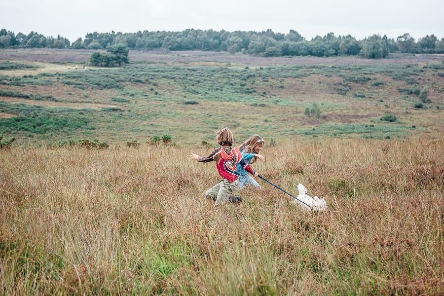 Kids and dog in heathland