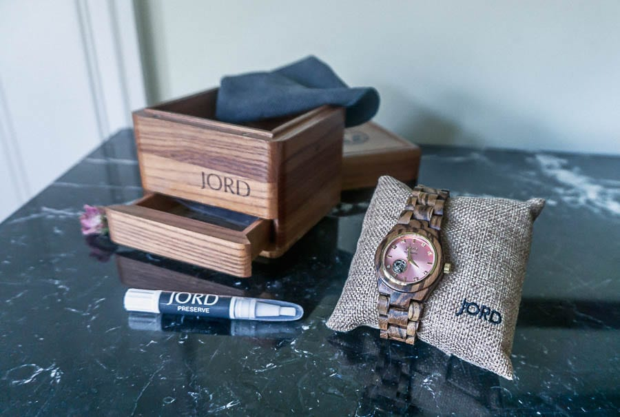 Cora Zebrawood and rose watch
