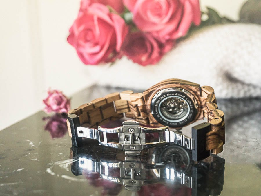 Jord watch crafted date Cora zebrawood rose