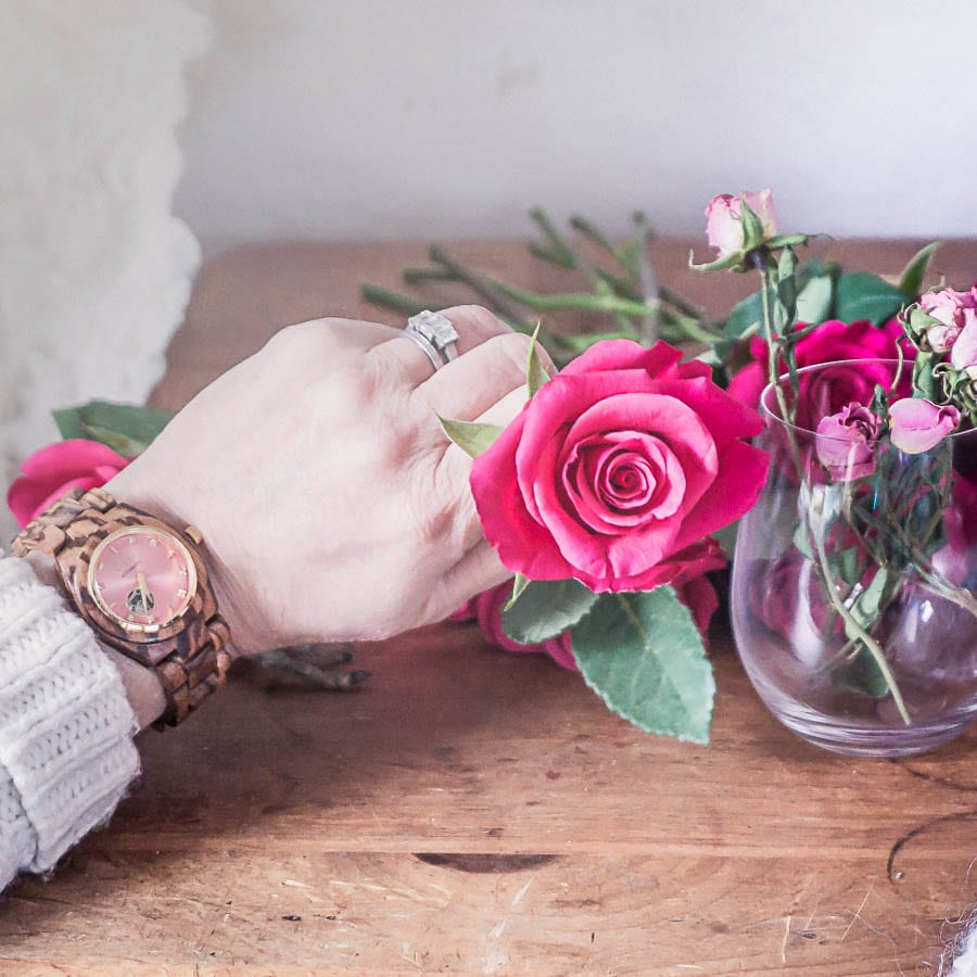 wood watch jord roses romance