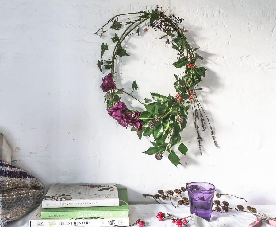 Botanical desk wreath books