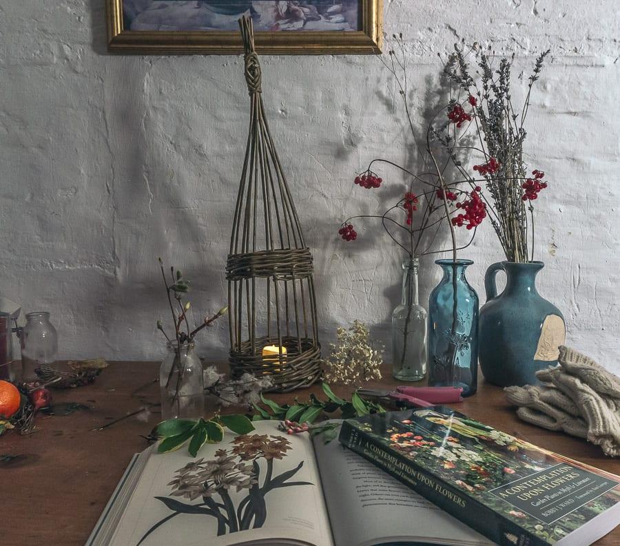 botanical desk winter candle books