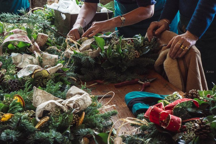 Gravetye Manor wreath workshop